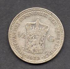 1922 Netherlands Silver 1/2 Gulden coin