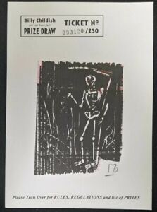 "Billy Childish ""Grim Reaper"" numbered handmade spit,black ink woodcut 120/250."