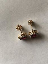 14k solid yellow gold earrings ruby and diamond.