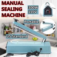 "300W 12"" Heat Sealer Poly Bag Machine Teflon Sealing Shrink Wrap Manual Impulse"