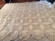 Beautiful Heavy Vintage Hand Crocheted Off White Bedspread.