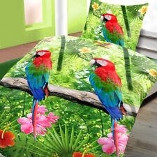 Baumwoll Bettwäsche 135x200 cm 4 teilig Linon Jungle Papagei grün