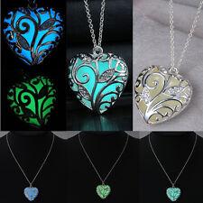 Glowing Steampunk Necklace Woman Aqua Heart Locket  Glow In The Dark Pendant