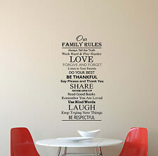 Family Rules Wall Decal House Quote Sign Gift Vinyl Sticker Poster Decor Art 623