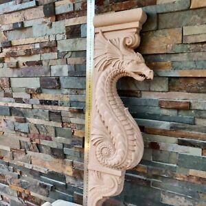 Wood Hand Carved Wall Corbel Gothic Dragon Fireplace mantel surround Shelf 1 pcs