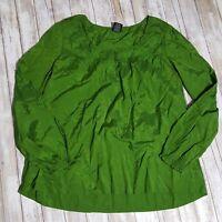 Faded Glory Women's XL 16/18 Peasant Top Shiny Green