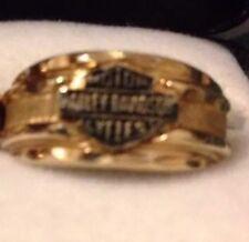 Mens Only 10K Yellow Gold Harley Davidson Ring Wedding 10