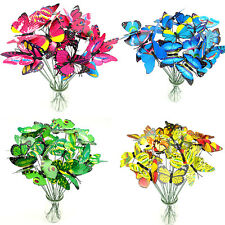 10pcs Butterflies on Sticks Plant Flower Pot Vase Garden Ornaments Decor