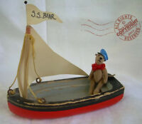 MINIATURE ooak artist TEDDY sailor n his boat ROOSEVELT BEAR CO by C Peterson <3