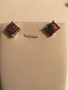 Black Fire Opal Stud Earrings
