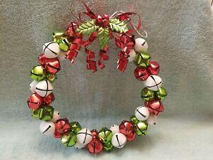 "Jingle Bells Wreath 11"" Metal Christmas Door Decor - Green, Red & White Glitter"