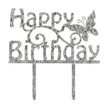 Happy Birthday Cake Topper Decoration Butterfly Cake Star Free Post