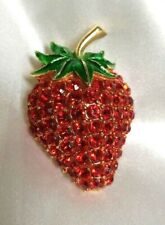 Rhinestones Strawberry Broach Rare, Beautiful large