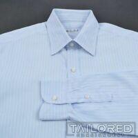 LORO PIANA Blue Striped 100% Cotton Mens Luxury Dress Shirt - BESPOKE 15.5