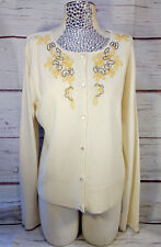 Vintage Spiegel Beaded Ivory Cardigan Sweater Womens XL Pearl Buttons Seed Beads