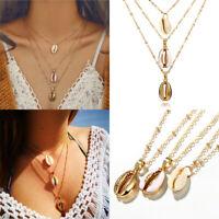 Fashion Women Shelll Multi-Layer Choker Collar Pendant Chain Necklace Jewelry