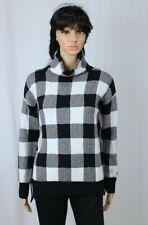 Lauren by Ralph Lauren Black/White Plaid Wool Sweater~Fringe Sleeves~NWT