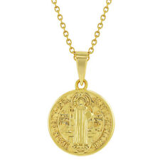 925 Sterling Silver Saint Benedict Small Protection Medal Children Necklace 18""
