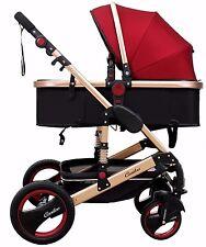 Alu Kinderwagen 3in1 Kombi Kinderwagen Wanne Buggy 0-15kg Casiloo® faltbar Rot