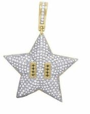 40 mm Star 925 Sterling Silver Cute Sparkle Pendant