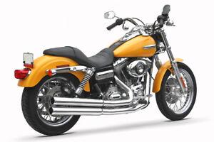 "Samson Motorcycle Exhaust Bull Dawgs w/ 2 1/2"" Heat Shields & 3"" Mufflers Dyna"
