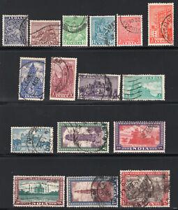 1949 India. SC#207-222. SG#309-324. Used, FVF.