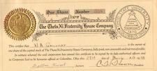 Theta Xi Fraternity House 1938 Columbus Ohio State University stock certificate