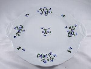 "Bernardaud Limoges France 12"" Nicole Pattern Porcelain Handled Cake Plate EUC"