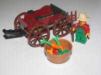 Lego ® City Minifig Figurine Fermier Fourche Charette Panier de Légumes NEW