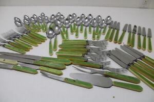 Stainless Art Deco Green Bakelite Flatware Lot