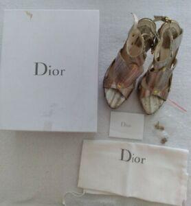 Christian Dior Italy Silver/Gold Snakeskin Gladiator Sandals Heels Sz 41 Sz 8