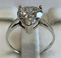 Beautiful Sterling Silver 925 Ring With  HearT Shaped Zirconia Size Q