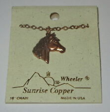 "Horse Necklace Sunrise Copper New 18"" Chain USA Made Wheeler"