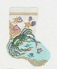Needle Crossings Blue Crab & Beach Mini Stocking handpainted Needlepoint Canvas