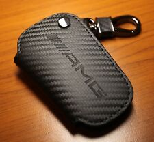 Mercedes AMG Carbon Fiber Style Genuine Leather Key Fob Holder Pouch C63s C43