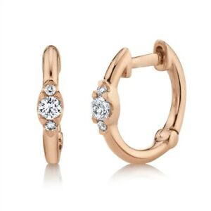 14K Rose Gold Diamond Huggie Earrings Round Cut Hoops Small Natural 0.10 TCW