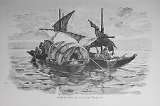 1890 ITALIEN VON WOLDEMAR KADEN= Veduta Xilo, Barche di Pescatori Lago Maggiore.
