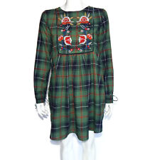 ZARA Plaid Grunge Floral Embroidrered Long Sleeve Shift Dress size Small