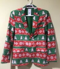 SUITMEISTER Ugly Christmas Suit Blazer ONLY Retro Fair Isle Print Green Red Sz M