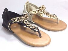 Girl Thong Sandals with Chain (hire4k) Kid Size Black Beige Dress Sandals