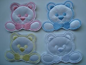 Teddy Head with Bow Baby Motifs 6 Colours Available - Pack of 2- 6cm x 5cm