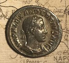 AD: 222-235 SEVERUS ALEXANDER SILVER DENARIUS OF ANCIENT ROME COIN.