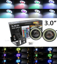 "3.0"" Multi-Color RGB DRL Fog Bulb w/ COB LED White Angel Eye Halo Rings For BMW"