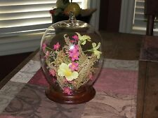 FLORAL GLASS GLOBE DOME WITH solid WOOD BASE Remove flowers use for TAXIDERMY