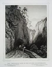 Das verlorene Loch & Hohenrealta   Schweiz  echter alter Stahlstich 1850