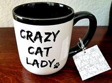 New CRAZY CAT LADY Coffee Tea Cup Mug Black White Kitty Paw Gift Tag 16 oz