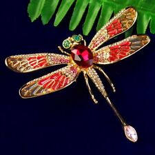 Big Red Tibetan Gold Rhinestone Dripping oil Dragonfly Pendant Brooch 93x78x4mm