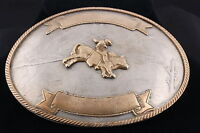 TWO TONED GERMAN SILVER BULL RIDER TROPHY BELT BUCKLE