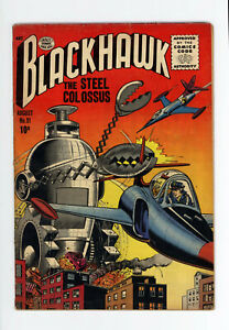 BLACKHAWK #91 VG+  RARE ISSUE - 1955 - CHOP CHOP - The STEEL COLOSSUS!