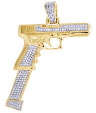 Mens Real Diamond Extendo Gun Clip Magazines Pendant 10K Yellow Gold 13/20 CT